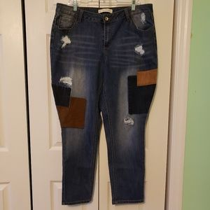 Patchwork distressed jeans, size 18W